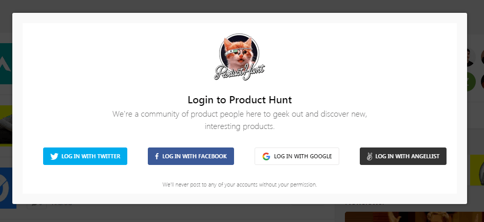 Create a personal account on Product Hunt