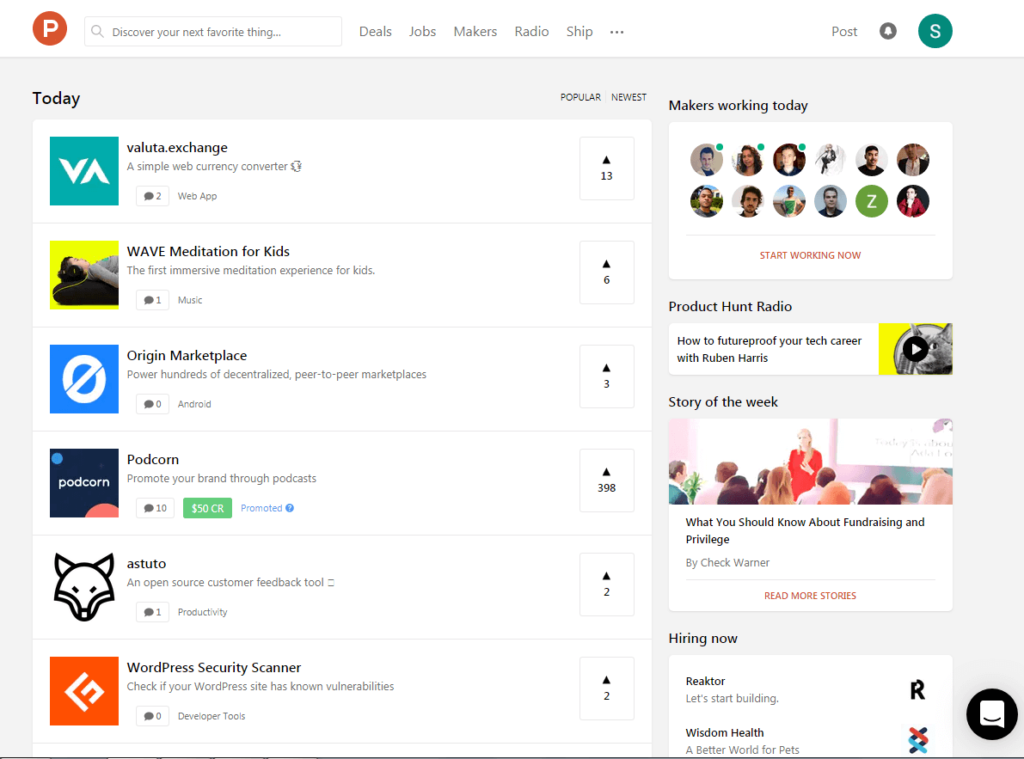 Product Hunt feed with launched products