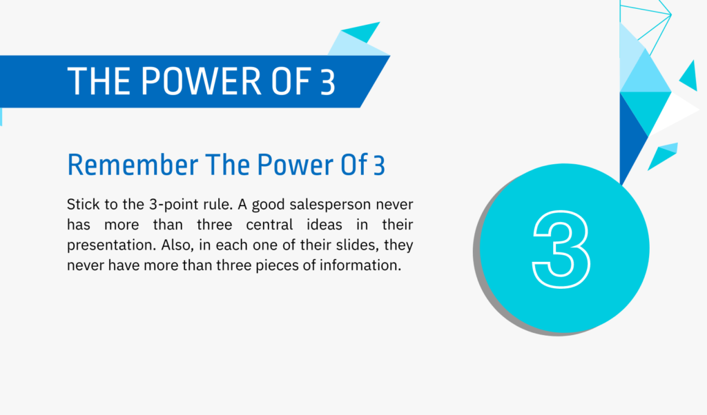 The 3 point rule of a sales pitch