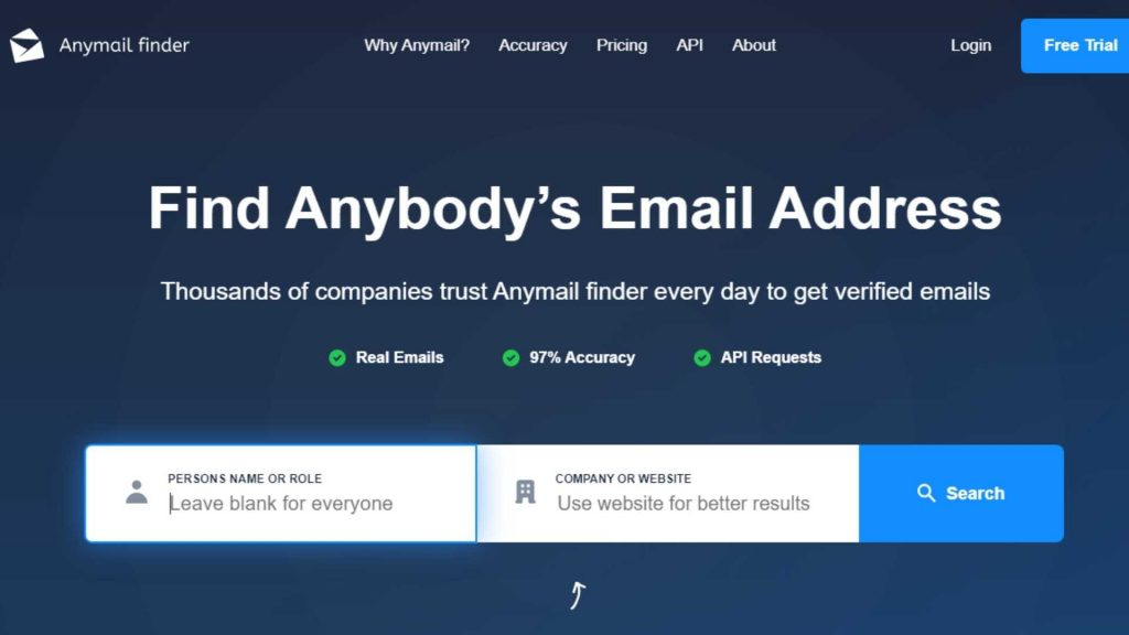 Anymail FInder Tool